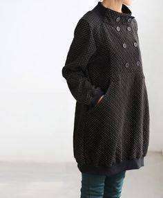 Happy smiling/ cute double breasted knee length tunic coat. $75.00, via Etsy.