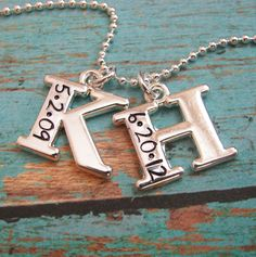 hand stamped double initial with date necklace by juliethefish