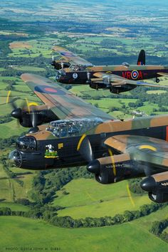 Vintage Planes Two restored Lancaster bombers, photographed by John Dibbs over Ontario, Canada - Ww2 Aircraft, Fighter Aircraft, Fighter Jets, Military Jets, Military Aircraft, Image Avion, Lancaster Bomber, Ww2 Planes, Airplanes