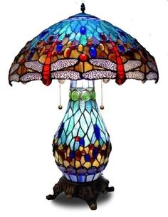 Blue Dragonfly Tiffany Style Stained Glass Table Lamp Lamps With Lit Base.