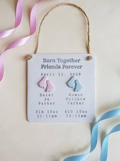 Twin Baby Gifts, New Baby Gifts, Twin Babies, Twins, Bedroom Door Signs, Birth Gift, Gifts For New Parents, Baby Feet, Baby Names