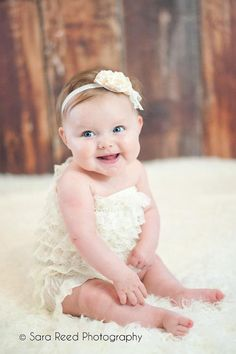 Baby Romper Headband SET Cream Lace Romper And Baby Headband Baby Outfit Baby Photo Prop Baby Pictures, Baby Photos, Children Pictures, Family Photos, Newborn Headbands, Headband Baby, Baby Hair Accessories, Little Doll, Lace Romper