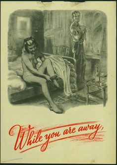 German propaganda poster showing an American serviceman and the wife of a British serviceman.