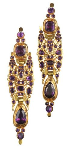 Georgian Amethyst Yellow Gold Long Iberian Pendant Earrings. Original yellow gold closed back mountings are set with rich amethysts in long Iberian earrings, circa 1750.
