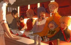 Friends and family outing at Ichiraku's D'aww little Himawari! Uzumaki and Uchiha family
