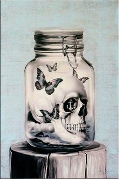 Glazed Skull - Acrylic Painting on Canvas - Martin Klein - 229 Euro