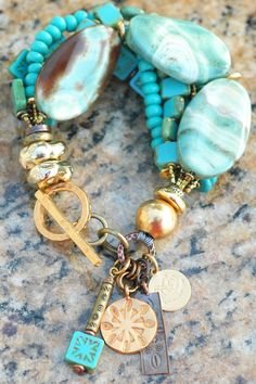 Beautiful Turquoise, Blue Agate, Glass and Gold Charm Bracelet | XO Gallery