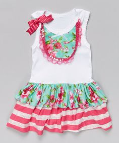 Look at this #zulilyfind! Teal & Pink Rose Ruffle Dress - Infant, Toddler & Girls #zulilyfinds