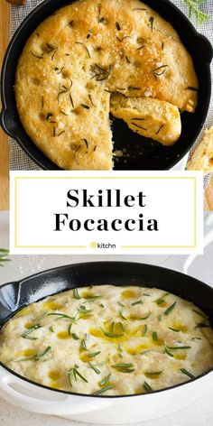 This skillet foccacia is SO easy to make. You only need 5 ingredients: flour, yeast, rosemary, salt and olive oil. This simple and quick bread is a great option for a last minute side dish. dinner skillet Recipe: No-Knead Skillet Focaccia Iron Skillet Recipes, Cast Iron Recipes, Cast Iron Skillet, Focaccia Recipe, Cooking Recipes, Healthy Recipes, Cooking Games, Cooking Tools, Cooking Corn