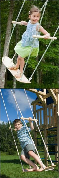 Are the kids begging for a swing? Forget the expensive swing set, all you need t., Diy And Crafts, Are the kids begging for a swing? Forget the expensive swing set, all you need to get is a used skateboard! This DIY project only takes around 20 minu. Backyard Swings, Backyard For Kids, Backyard Landscaping, Diy For Kids, Cool Kids, Backyard Ideas, Garden Ideas, Garden Swings, Backyard House