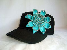 Black Cadet Hat with Zipper Bling by theimaginationblvd on Etsy, $16.95