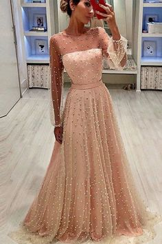 2019 A Line Round Neck Long Sleeves Champagne & Peach Pearls Long Prom Dresses, SSM, This dress could be custom made, there are no extra cost to do custom size and color. Red Lace Prom Dress, Prom Dresses Long Pink, Prom Dresses Long With Sleeves, Plus Size Prom Dresses, Grad Dresses, Junior Bridesmaid Dresses, Dress Long, Muslim Prom Dress, Wedding Dress With Pearls