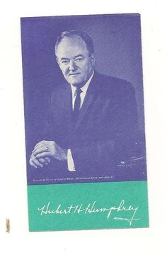 Hubert H. Humphrey Card w/1967 Detroit Lions Schedule on Reverse Side