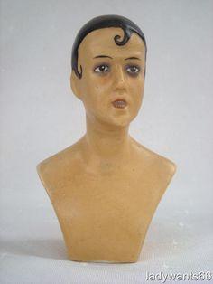 ART DECO BOUDOIR WAX COMPOSITION PIERROT SHOULDER HEAD DOLL CIRCA 1920  | eBay