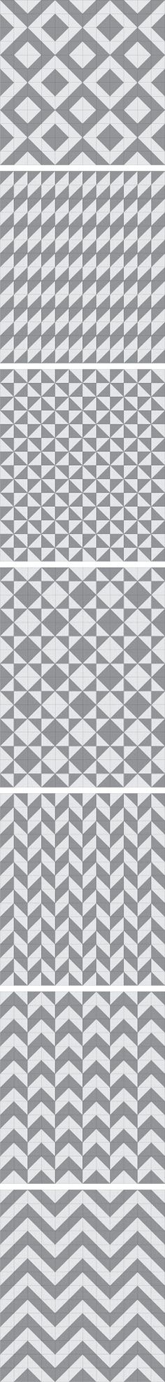 Seven more half-square triangle layout patterns.
