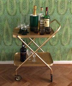 Bar cart drinks trolley folding mid century by TheLittleIrishShop