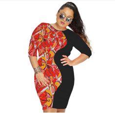 2017 Hot Women Plus Size Dress Sexy Patchwork Print O-Neck Beach Party Office Dresses Half Sleeve Autumn Dress XXXL Clothing Office Dresses, Dresses For Work, Summer Dresses, Half Sleeve Dresses, Half Sleeves, Beach Party, Sexy Dresses, Cover Up, Bodycon Dress
