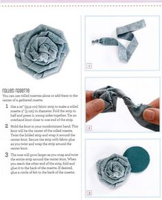 How to make a rolled fabric rosette and giveaway of a copy of Precut Patchwork Party Denim Twisted Flower Tutorial Denim Flowers, Cloth Flowers, Burlap Flowers, Fabric Flowers, Fabric Rosette, Fabric Brooch, Fabric Flower Tutorial, Bow Tutorial, Jean Crafts
