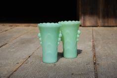 Vintage Pair of FireKing Jadeite Vases