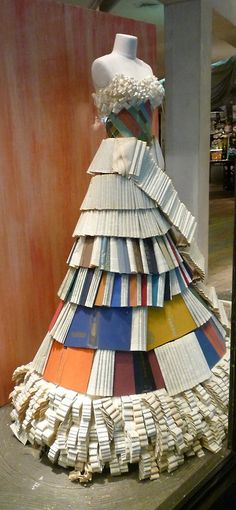 Display in an Anthropologie window - made out of books. Photograph by Lynn Byrne.