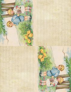 Children & Spring Chicks: printable with 2 images ~ 5.5 x 8.5 inches each
