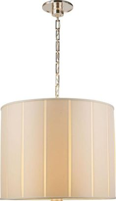 Perfect Pleat Pendant in Soft Silver with Silk Shade : 22G54 | City Lights