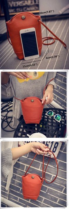 US$8.14 Woman Irregular Little Phone Bag Casual PU Crossbody Bag Bucket Bag