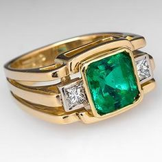 3.5 Carat Emerald Ring w/ Diamond Accents 18K Gold - EraGem