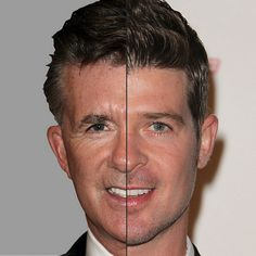 Alan Thicke And Robin Thicke It's surprising how similar the hair, nose and mouth are between Robin Thicke and his dad. Scary!