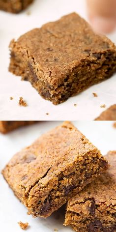 These quick and easy Almond Butter Blondies are made with simple ingredients and are studded with dark chocolate chips. They're such a healthy dessert idea. This homemade, from-scratch recipe is gluten-free and vegan too! Chewy, thick and oh so delicious. Healthy Sweets, Healthy Dessert Recipes, Health Desserts, Homemade Desserts, Bon Dessert, Dessert Aux Fruits, Salted Chocolate Chip Cookies, Chocolate Chips, Mint Chocolate