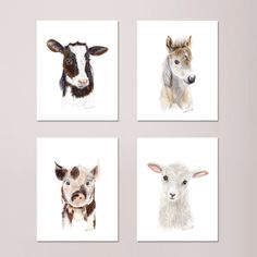 Farm Nursery Print Set of 4 Prints, Baby Animal Portraits - Horse, Lamb, Pig, and Cow - Different Sizes Available. Set of 4 Farm Nursery prints of Baby Animal portraits taken from my original watercolors, includes a baby horse, baby lamb, baby pig and baby cow. QUALITY: Farm Nursery prints printed with highest quality archival inks and fine art papers to ensure print set will last and be enjoyed for years to come. DETAILS: Choose 5x7, 8.5x11, 11x14, 13x19, 16x20 or 18x24. Print Format:...