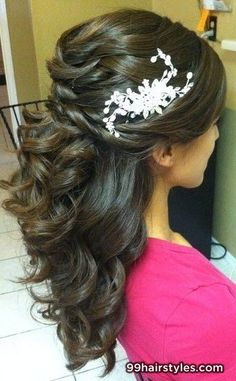 beautiful long curly brown wedding hairstyle - 99 Hairstyles Ideas