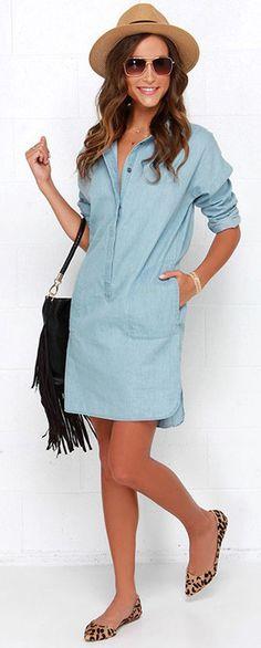 e9032ad41f2 Hot Women New High Low Denim Shirt Dress Casual Long Sleeve Skirt