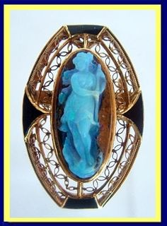 Victorian half mourning brooch/pin/pendant. Carved opal set in 14k yellow gold with enamel accents. Made circa 1880-90. (#4528)