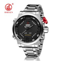 Hot Sale OHSEN Mens Military Sports Watches Full Steel Band Quartz Watch Men Male LED Display Wristwatch Water Resistant Relogio #Affiliate