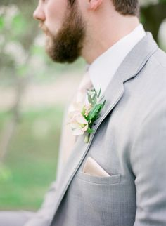 Sweet delicate boutonniere #cedarwoodweddings Cedarwood Spring Style on Style Me Pretty with Julie Paisley | Cedarwood Weddings