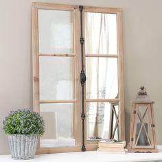 Miroir fenêtre en bois et métal ...