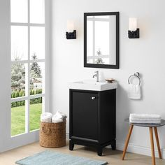 Martha Stewart Clarence 20 in. Vanity from Perry St. Collection in Impress Black finish - Overstock - 31606183 Black Vanity Bathroom, Transitional Style, Bathroom Furniture, Furniture Deals, Amazing Bathrooms, Martha Stewart, Powder Room, Home And Garden, It Is Finished