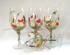 "Wine Glasses -- Hand Painted Wine Glasses, Keepsake, Gift Idea, Bridesmaid Gift, Wedding Gift -- ""Bouquet of wildflowers"" -- Set of 4"