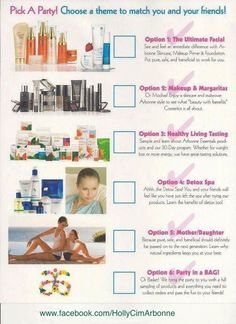 Good visual to show clients different product lines and theme party ideas. www.kellyoconnorkerhonkson.arbonne.com Consultant ID# 22148056