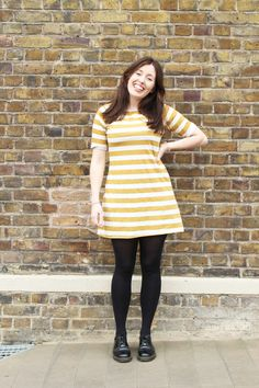 Rosie's lovely Coco! - sewing pattern by Tilly and the Buttons, stripe dress, style, fashion, Spring, mustard