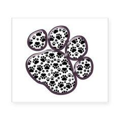 Cartoon Dog Paws Footprints Heart Love White Black