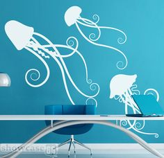 Sea Jellies  Vinyl Wall Art  FREE Shipping  Fun by showcase66, $70.00  www.showcase66.com  www.facebook.com/scase66