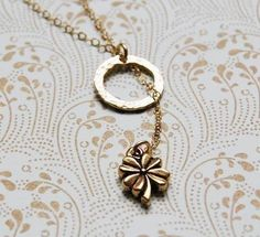Tiny four-leaf clover lariat necklace