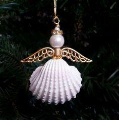 Seashell Angel Ornament Set of 3 Metallic Gold by MadebyMonicaJ