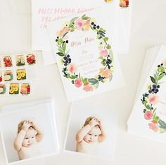 Adorable spring floral themed 1st birthday invitation from minted.com. Snap by @sarahbethdunn.
