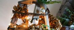 A treeless ladder Christmas tree - Day 10 - Funky Junk Interiors Ladder Christmas Tree, Christmas Tree Forest, Diy Christmas Ornaments, Christmas Home, Christmas Decorations, Christmas Crafts, Deco Mesh Garland, Owl Lamp, Tree Day