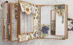 Flip Fold album with Heartfelt Creations. Tutorial Scrapbook, Homemade Journal, Mini Photo Albums, Mini Album Tutorial, Fabric Journals, Album Book, Mini Scrapbook Albums, Handmade Journals, Scrapbooking