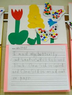 Students create a paper flower garden and mosaic butterflies and then write about their butterfly garden.