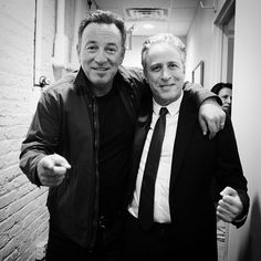 "Danny Clinch on Instagram: ""Just 2 guys from Jersey . ( 3 if you count me ) glad i was there . All the best to Jon Stewart . If the Boss is his inspiration , then he will be creating great work for many more years . #jonstewart #dailyshow #jonvoyage #brucespringsteen @springsteen #newjersey"""